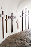 Crosses for the dead in  cloister of Andechs Royalty Free Stock Images