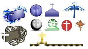 Crosses decoration. Image representing a set of crosses usable as decoration or logos Stock Photo