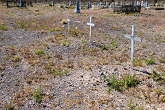 Crosses in desert cemetery Royalty Free Stock Image