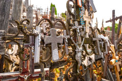 Crosses detail at the hill of crosses, Lithuania Stock Images