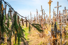 Crosses detail at the hill of crosses, Lithuania Stock Photography