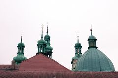 Crosses on the domes of the cathedral. On the background of clear sky royalty free stock photography