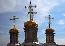 Crosses and domes of Trinity Cathedral. Verkhoturye. Sverdlovsk region. Russia. Stock Images