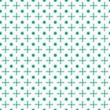 Crosses and dots seamless pattern. Vector geometric background. Green pluses and circles on the white backdrop. Reapeted texture. Template minimalistic surface Stock Illustration