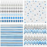 Crosses dots stripes and chevron blue seamless pattern set Royalty Free Stock Photos