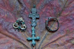 Crosses, earring and ring. Crosses of the 13th eyelid, cross of the 17th eyelid, earring and ring of 17-18 centuries Royalty Free Stock Images