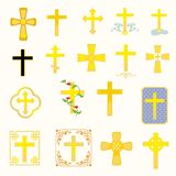 Crosses. Eighteen crosses varying in style and type Royalty Free Stock Photo
