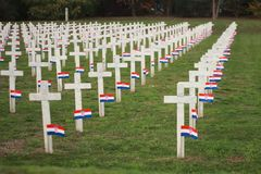 Crosses with flag. Crosses on cemetery in Vukovar stock images