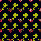 Crosses and flowers in an old-style tattoo. The day of the Dead. A seamless pattern on a black background. Royalty Free Stock Image