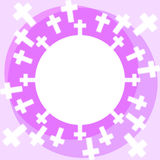 Crosses frame border card. Border frame with crosses around Royalty Free Stock Photos