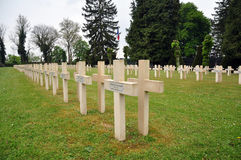 Crosses of French soldiers in French cemetery, Dinant. Crosses of French soldiers in French war cemetery, Dinant, Belgium Royalty Free Stock Photos