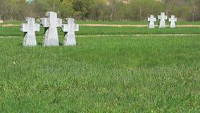 Crosses at German military memorial cemetery stock video footage