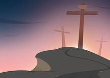 Crosses on Golgotha. The road conducts to Jesus cross on Golgotha Stock Illustration