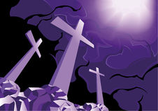 Crosses on Golgotha and light of resurrection. Three crosses and the light of resurrection Royalty Free Stock Photo