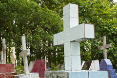 Crosses on the graves. Royalty Free Stock Photos