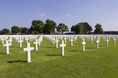 Crosses on graves at Margraten War Cemetery Stock Image