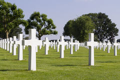 Crosses on graves at Margraten War Cemetery Royalty Free Stock Photo