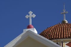 Crosses of a Greek Orthodox church in Kalyves, Greece, Euope Royalty Free Stock Images
