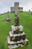 Crosses on Headstones in Cemetery in Ireland Stock Image
