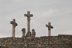 Crosses on the hill Stock Photography