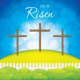 Crosses on the hill. Easter scene with crosses on the hill.He is risen.Vector illustration Royalty Free Stock Photography