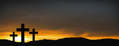 Crosses on the hill over sunset background.Religious concept of Stock Photo