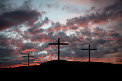 Crosses on a hilltop Stock Photos