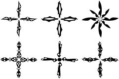 Set of artitic Crosses in black isolated Royalty Free Stock Image