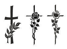 Crosses. Illustration of three different crosses with roses Royalty Free Stock Image