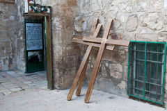 A crosses in Jerusalem, Israel. Stock Photography
