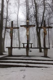 Crosses Jesus and the two thieves on Calvary. International Shri Royalty Free Stock Photography