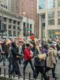 750 Crosses marching down the Magnificent Mile in Chicago. stock images