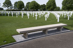 Crosses on military graves of fallen U.S. soldiers at the Netherlands American Cemetery and Memorial. Royalty Free Stock Photo