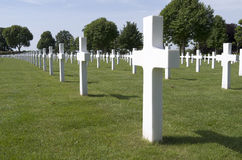 Crosses on military graves of fallen U.S. soldiers. Royalty Free Stock Image