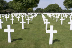 Crosses on military graves of fallen U.S. soldiers. Stock Images