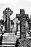 Crosses in mono. Number of crosses in graveyard Royalty Free Stock Images