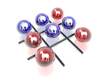 Crosses & naughts. 3D political game (crosses & naughts Stock Photos
