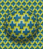 Crosses patterned ball rolling along the same surface. Abstract vector optical illusion illustration. Motion background. And tile of seamless wallpaper Royalty Free Stock Photo