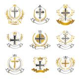 Crosses Religious emblems set. Heraldic Coat of Arms, vintage vector logos collection. stock illustration