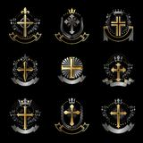 Crosses Religious emblems set. Heraldic Coat of Arms, vintage ve Stock Photos