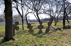Crosses on a rickety old cemetery Stock Photos
