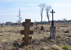 Crosses on a rickety old cemetery Stock Photo