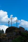 Crosses Silhouette against Blue Sky Stock Photo