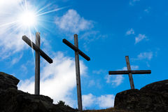 Crosses Silhouette against Blue Sky Royalty Free Stock Photo