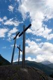 Crosses Silhouette against Blue Sky Stock Image