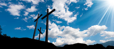 Crosses Silhouette against Blue Sky Royalty Free Stock Images
