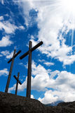 Crosses Silhouette against Blue Sky Stock Photography