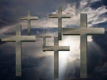 Crosses in sky Stock Photo