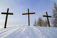 Crosses the snow Stock Photo