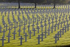 Crosses and Stars of David, Henri-Chapelle American Cemetery Royalty Free Stock Image
